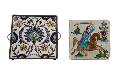 Lot 1813 - AN ISNIK TILE AND ANOTHER TILE