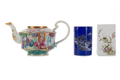 Lot 1820 - A 20TH CENTURY CHINESE BRUSH POT, ANOTHER BRUSH POT AND A TEA POT