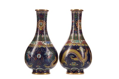 Lot 1822 - A PAIR OF EARLY 20TH CENTURY CHINESE CLOISONNE VASES