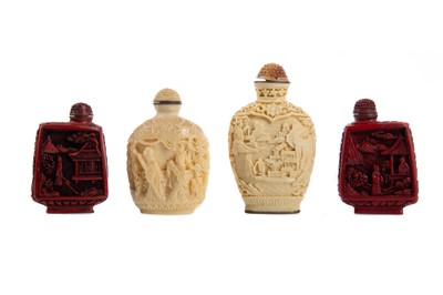 Lot 1856 - A PAIR OF 20TH CENTURY CHINESE SNUFF BOTTLES AND TWO FURTHER BOTTLES