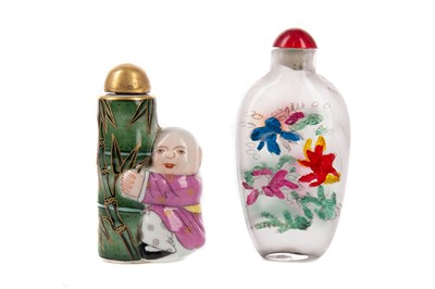 Lot 1860 - A CHINESE REPUBLIC PERIOD SNUFF BOTTLE AND AN INTERIOR PAINTED BOTTLE