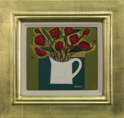 Lot 505 - JUG OF ROSES, AN ACRYLIC BY SIMON LAURIE