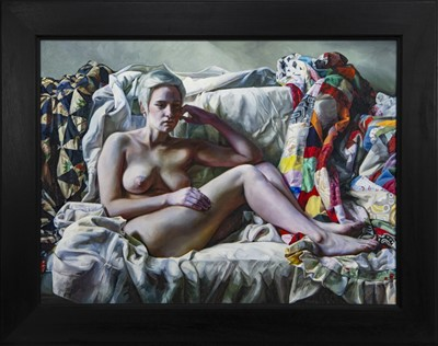 Lot 513 - SOPHIE ON PATCHWORK, AN OIL BY FELIX DALY