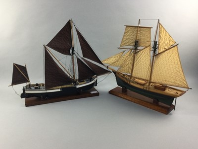 Lot 70 - A LOT OF TWO PAINTED WOOD MODEL SAILING BOATS, ANOTHER AND A CARVED WOOD CAPTAIN