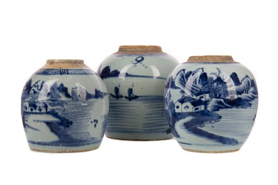 Lot 1855 - THREE EARLY 19TH CENTURY CHINESE BLUE AND WHITE GINGER JARS