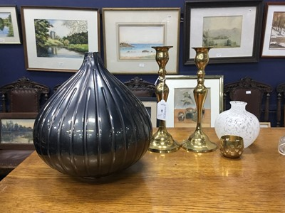 Lot 81 - A PAIR OF BRASS CANDLESTICKS, OAK STATIONERY BOX, VASES AND OTHER OBJECTS
