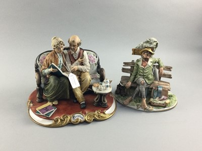 Lot 101 - A CAPODIMONTE FIGURE GROUP ALONG WITH ANOTHER