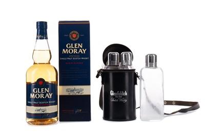 Lot 14 - GLEN MORAY AND GLENFIDDICH GLASS FLASK BAG
