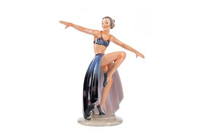 Lot 1061 - A GERMAN ART DECO PORCELAIN FIGURE OF A DANCING LADY