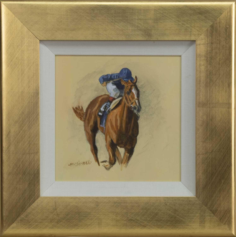 Lot 525 - CHESNUT WITH THE BLUE SILKS, AN ACRYLIC BY ELIZABETH MCCRINDLE