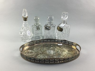 Lot 92 - A LOT OF CRYSTAL DECANTERS AND A SILVER PLATED TRAY