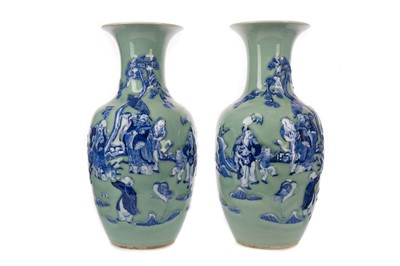 Lot 1819 - A PAIR OF CHINESE CELADON VASES
