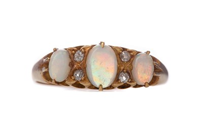 Lot 1424 - AN OPAL AND DIAMOND RING