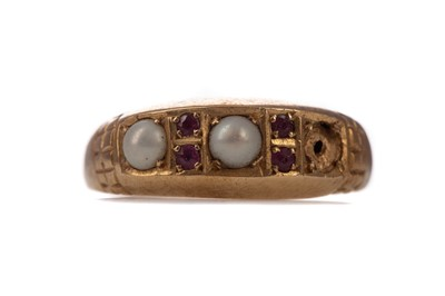 Lot 1399 - A PARTIAL PEARL AND RUBY RING