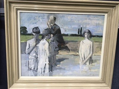 Lot 530 - THE BAPTISM, A GOUACHE BY ALEXANDER GOUDIE