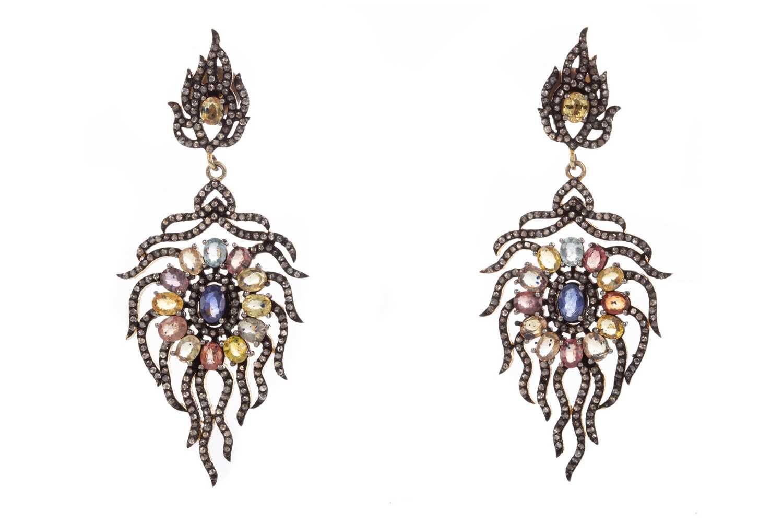 Lot 1459 - A PAIR OF GEM SET AND DIAMOND EARRINGS