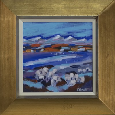 Lot 523 - LATE SNOWS, PERTHSHIRE II, AN ACRYLIC BY MARY BATCHELOR
