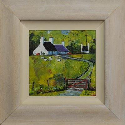 Lot 522 - SHEEP AND CROFT, AN OIL BY DANIEL CAMPBELL