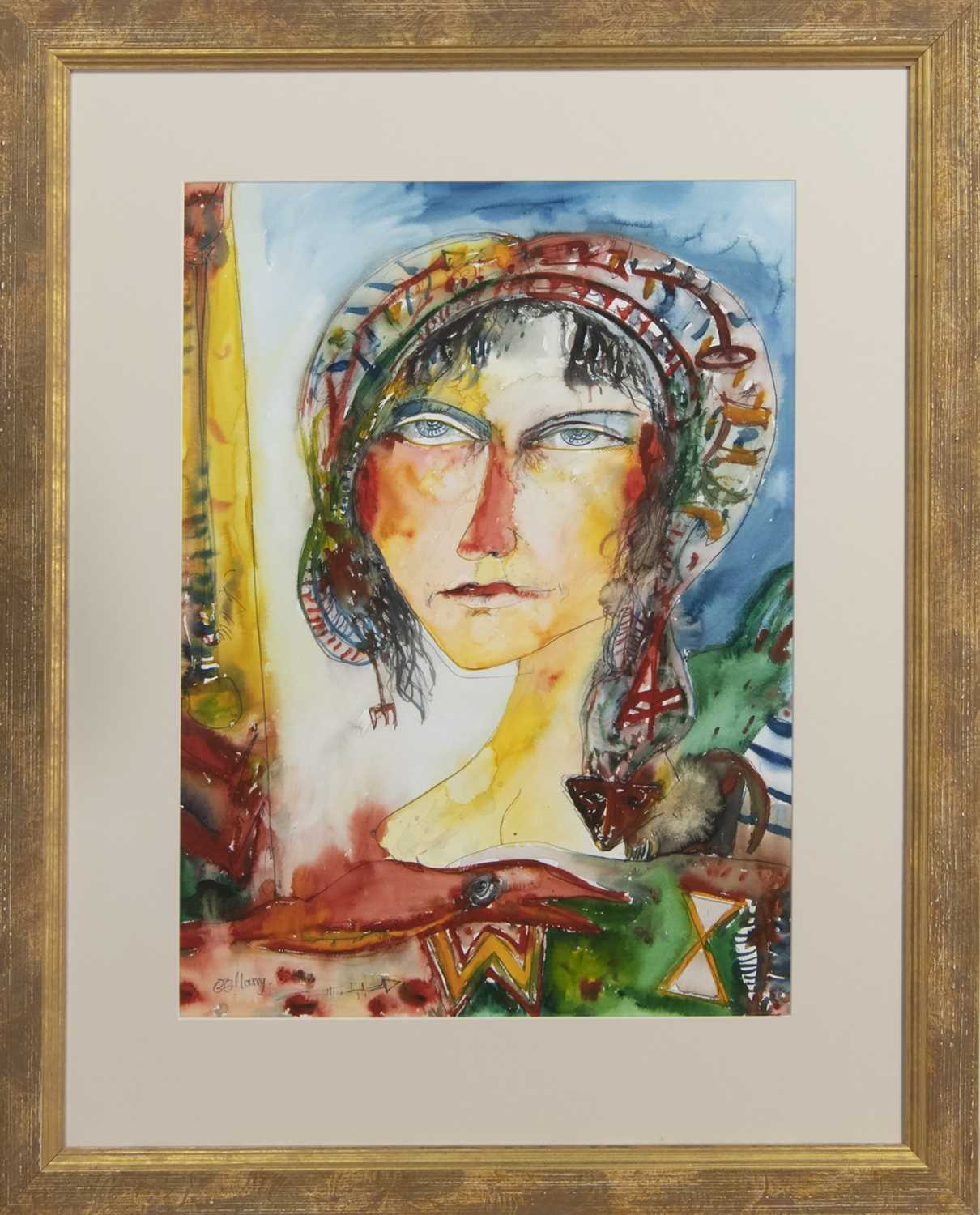 Lot 520 - WOMAN WITH CAT, A WATERCOLOUR BY JOHN BELLANY