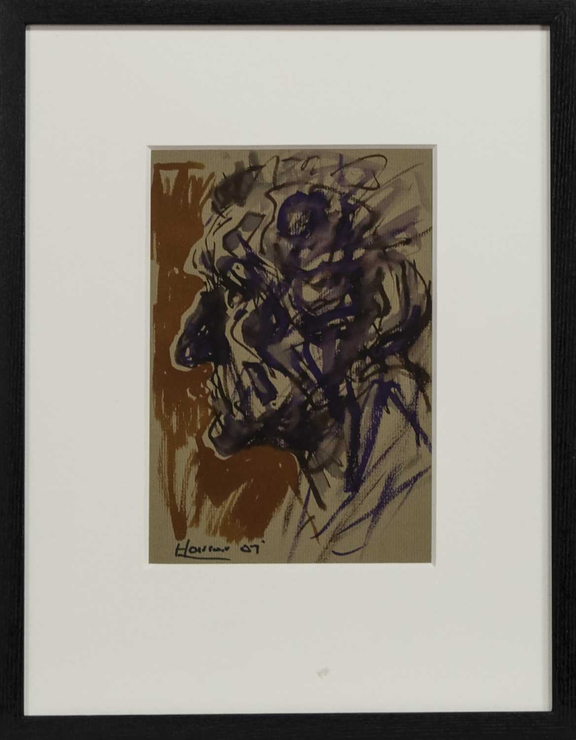 Lot 510 - GORBALS MAN 2007, A WATERCOLOUR BY PETER HOWSON
