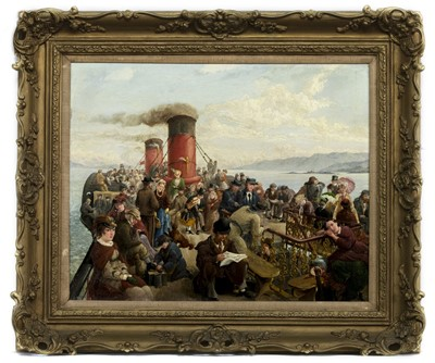 Lot 47 - THE DECK OF THE STEAMER IONA, AN OIL BY ROBERT B GRAHAM