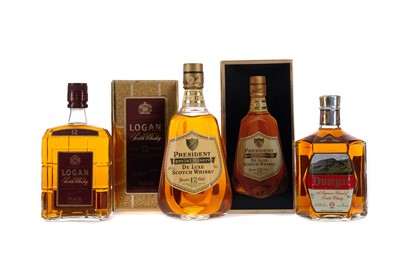 Lot 23 - PRESIDENT SPECIAL RESERVE 12 YEARS OLD, LOGAN DELUXE, AND SCOTTISH LEADER 15 YEARS OLD