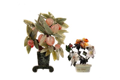 Lot 1833 - A LOT OF TWO CHINESE HARDSTONE MINIATURE TREES/PLANTS