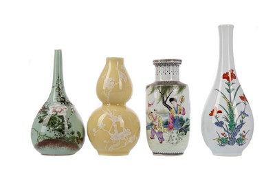 Lot 1837 - A CHINESE REPUBLIC BALUSTER VASE AND THREE OTHERS VASES