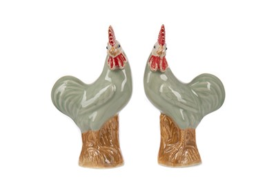 Lot 1843 - A PAIR OF 20TH CENTURY CHINESE CELADON COCKERELS