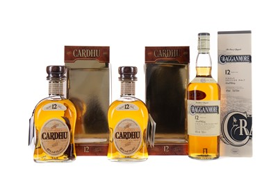 Lot 31 - TWO BOTTLES OF CARDU 12 YEARS OLD AND ONE CRAGGANMORE12 YEARS OLD