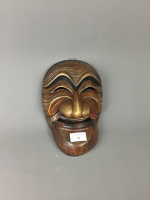 Lot 52 - A 20TH CENTURY JAPANESE WOOD MASK