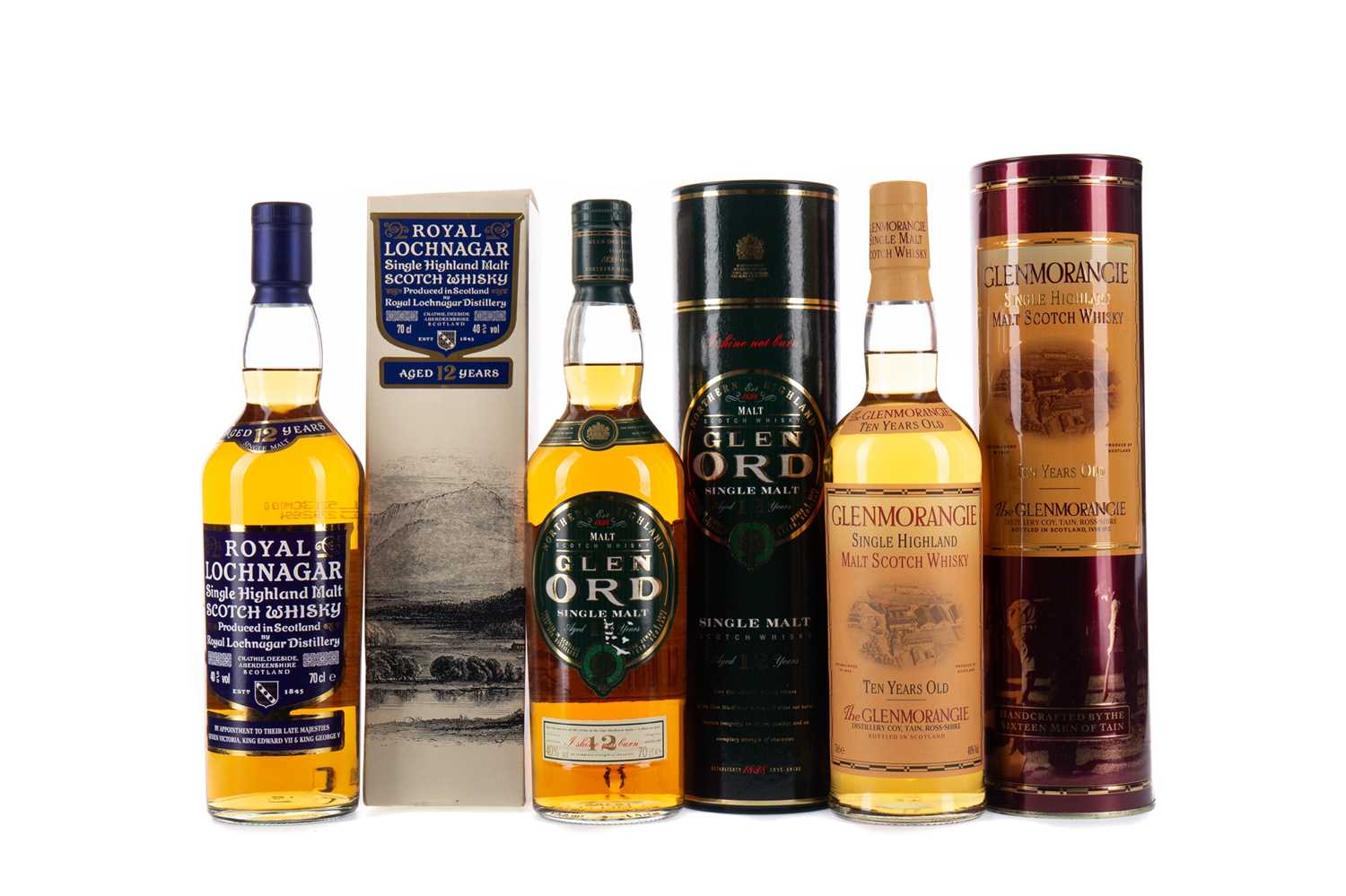 Lot 32 - GLENMORANGIE 10 YEARS OLD, ROYAL LOCHNAGAR AGED 12 YEARS AND GLEN ORD 12 YEARS OLD