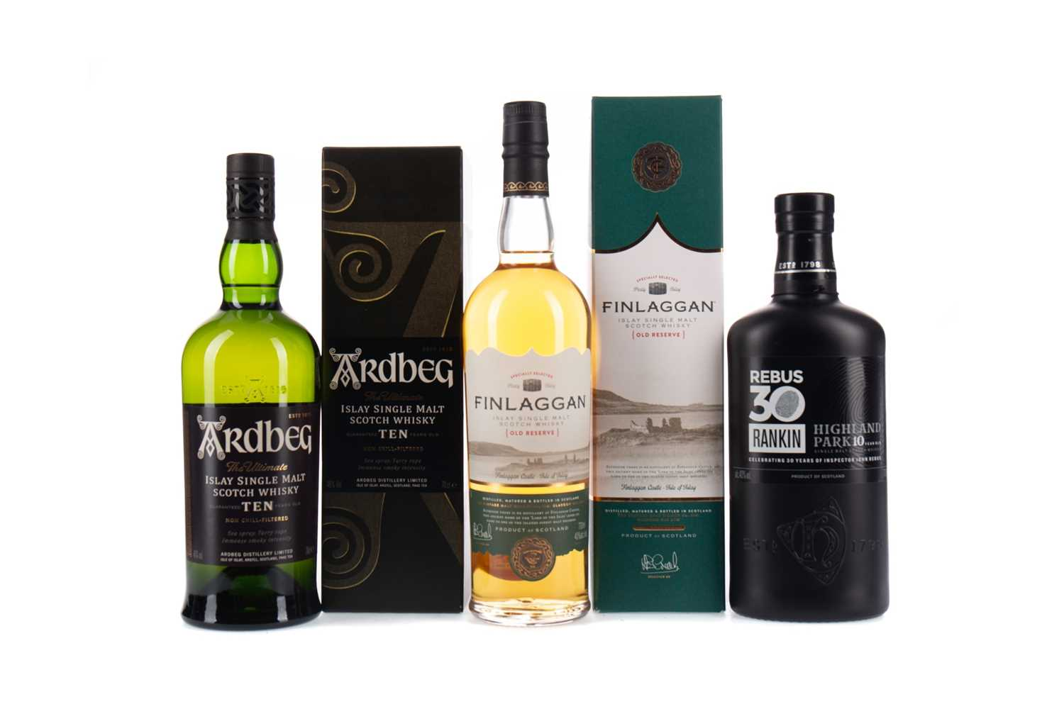 Lot 39 - HIGHLAND PARK REBUS 30 AGED 10 YEARS, ARDBEG 10 YEARS OLD, AND FINLAGGAN OLD RESERVE
