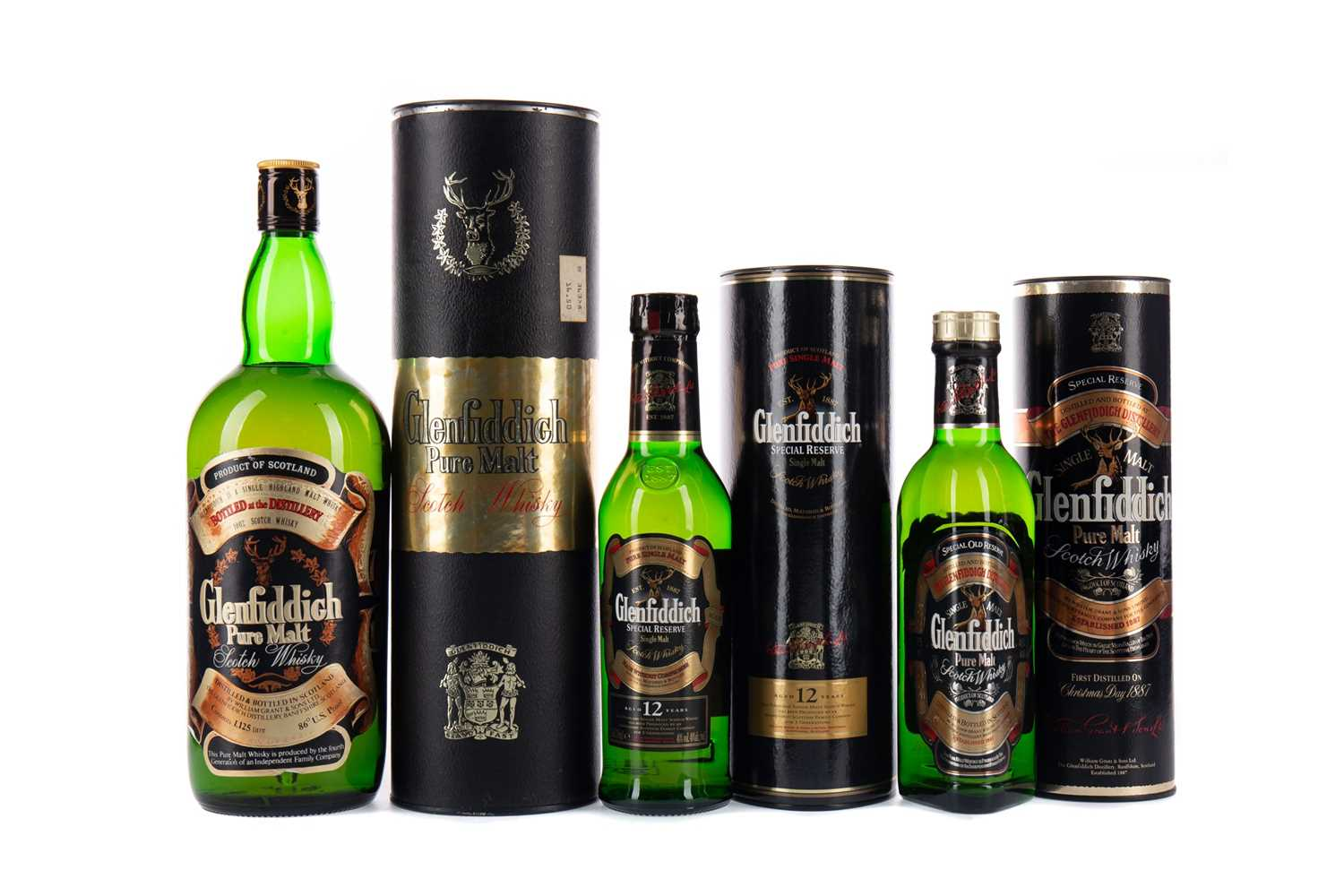 Lot 45 - 1.125 LITRES OF GLENFIDDICH PURE MALT, AND HALF BOTTLES OF GLENFIDDICH SPECIAL OLD RESERVE AND SPECIAL RESERVE 12 YEARS OLD