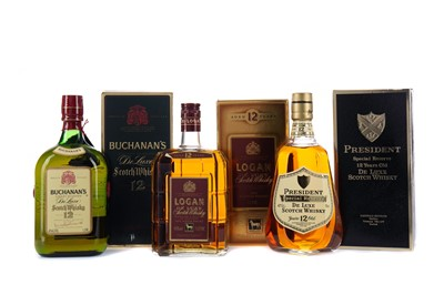 Lot 47 - LOGAN DELUXE AGED 12 YEARS, BUCHANAN'S AGED 12 YEARS, AND PRESIDENT SPECIAL RESERVE AGED 12 YEARS