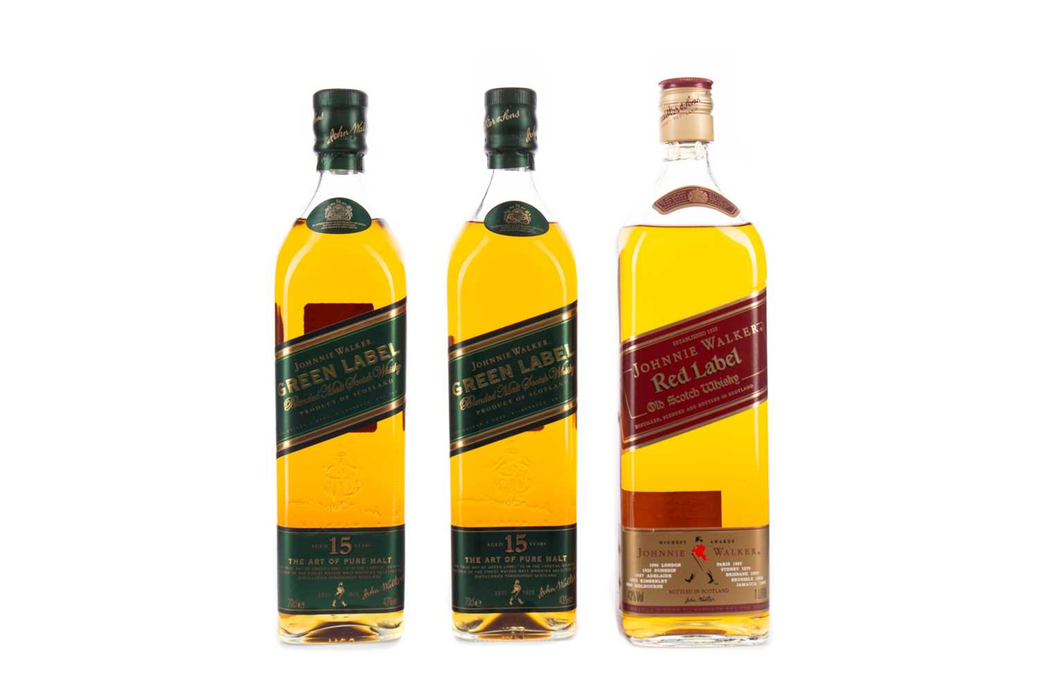 Lot 49 - TWO BOTTLES OF JOHNNIE WALKER GREEN LABEL AGED 15 YEARS, AND RED LABEL