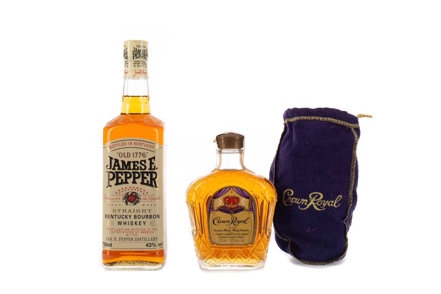 Lot 53 - JAMES E PEPPER AND A HALF BOTTLE OF CROWN ROYAL