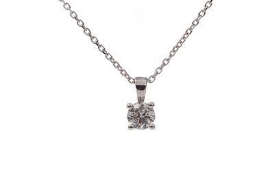 Lot 1368 - A CERTIFICATED DIAMOND SOLITAIRE PENDANT