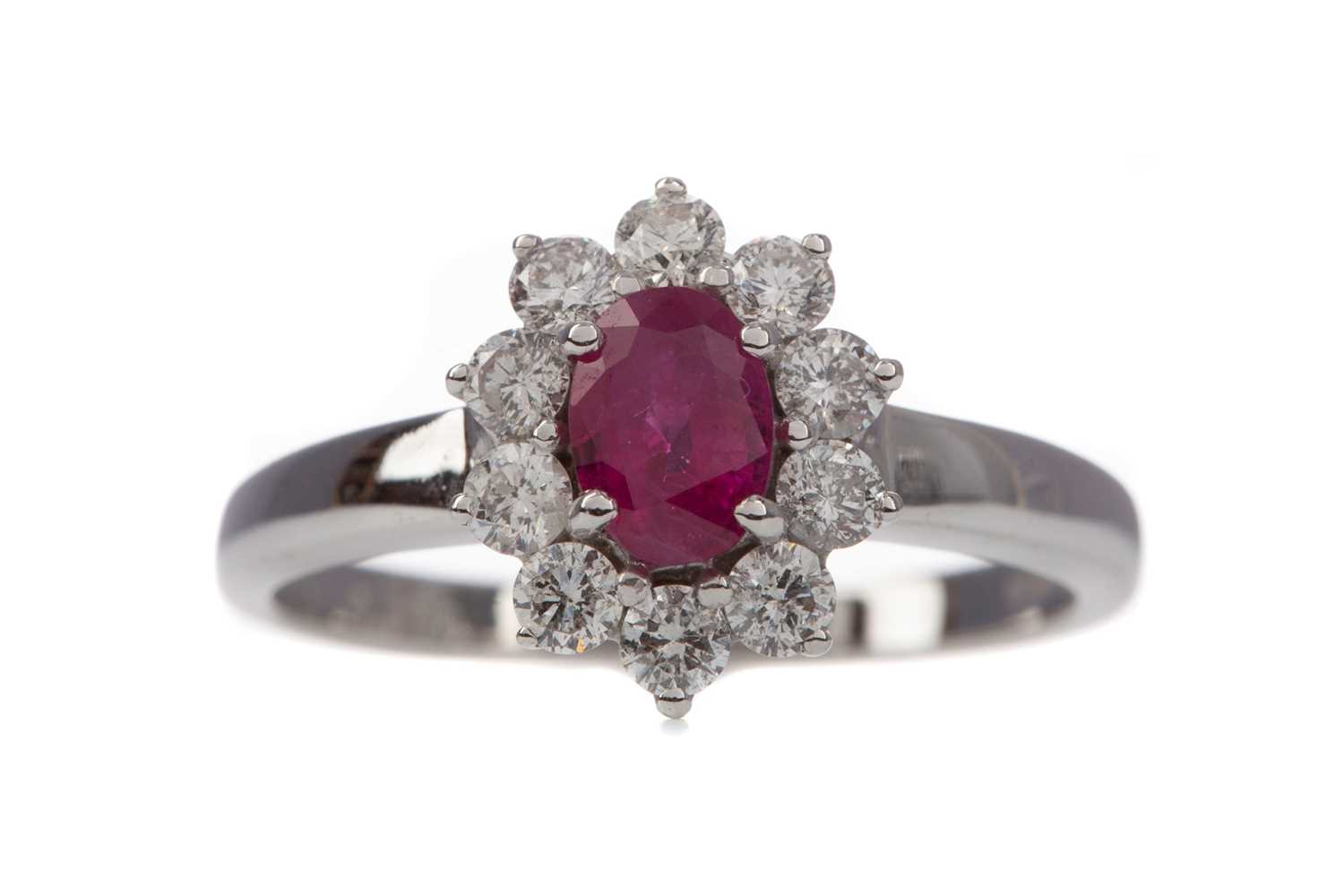 Lot 1376 - A CERTIFICATED RUBY AND DIAMOND CLUSTER RING