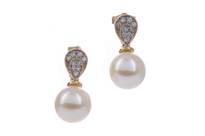 Lot 1385 - A PAIR OF PEARL AND DIAMOND EARRINGS