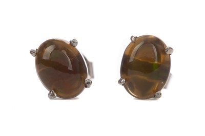 Lot 1401 - A PAIR OF ETHIOPIAN BLACK OPAL EARRINGS
