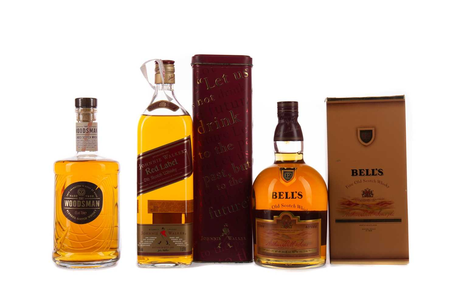 Lot 59 - THE WOODSMAN, BELL'S 12 YEARS OLD AND JOHNNIE WALKER RED LABEL