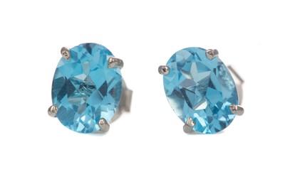 Lot 1410 - A PAIR OF BLUE TOPAZ STUD EARRINGS