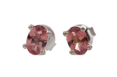 Lot 1420 - A PAIR OF PINK TOURMALINE STUD EARRINGS