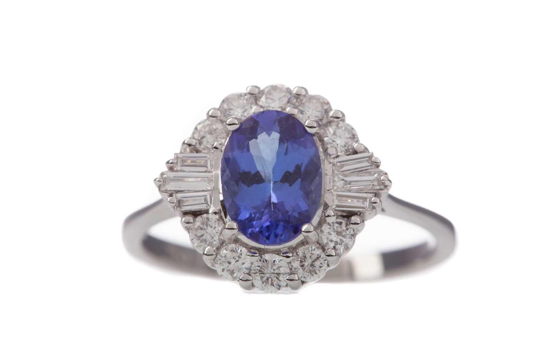 Lot 1436 - A TANZANITE AND DIAMOND RING