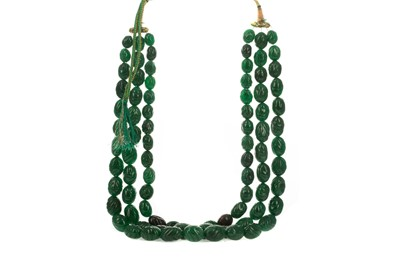 Lot 1447 - AN EMERALD BEAD NECKLACE