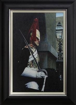 Lot 516 - WHITEHALL SENTRY, AN OIL BY NEIL SIMPSON