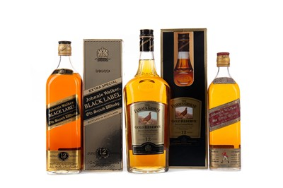 Lot 82 - FAMOUS GROUSE GOLD RESERVE AGED 12 YEARS. JOHNNIE WALKER BLACK LABEL AGED 12 YEARS, AND JOHNNIE WALKER RED LABEL