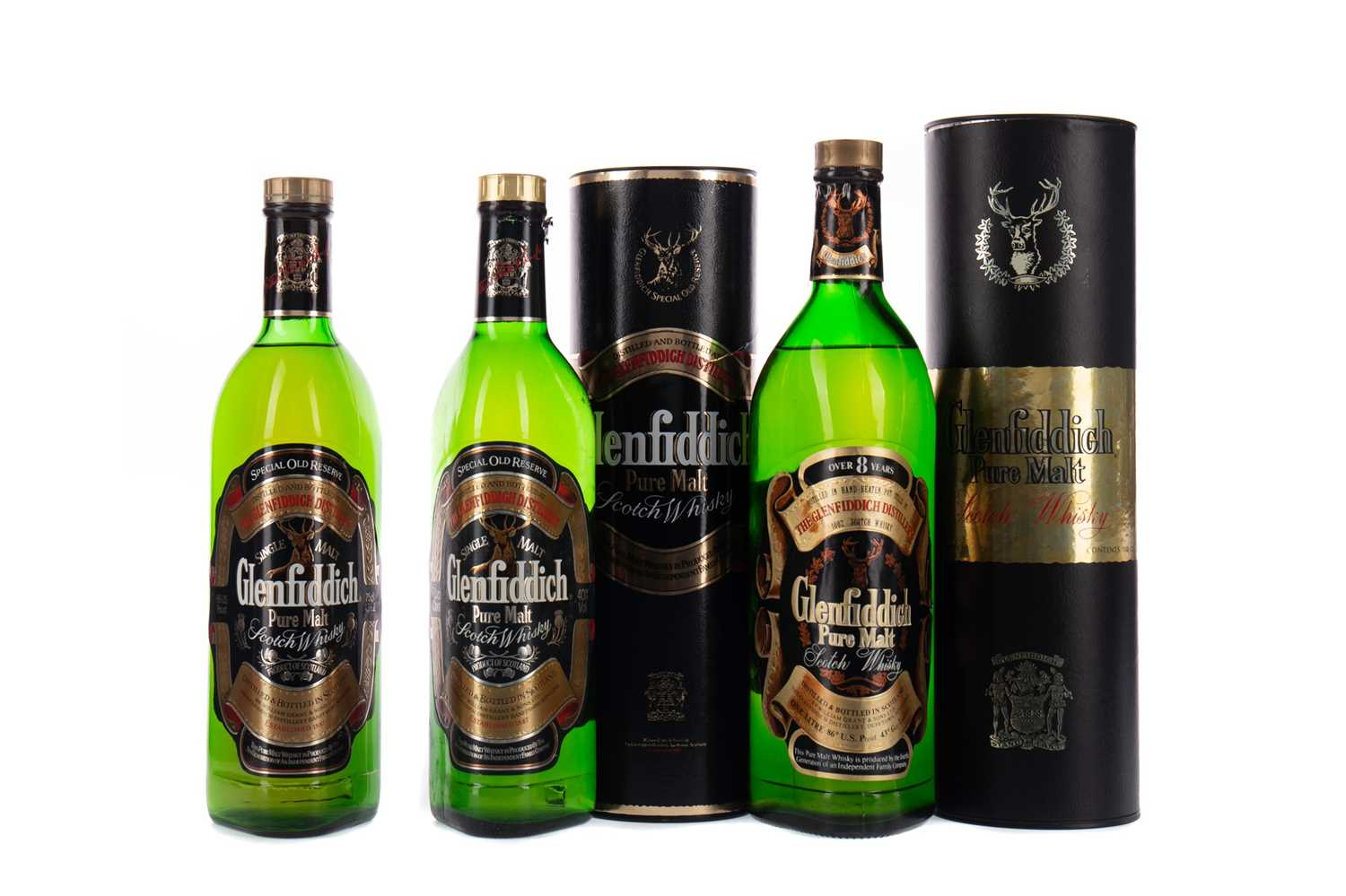 Lot 84 - TWO BOTTLES OF GLENFIDDICH SPECIAL OLD RESERVE, AND ONE AGED 8 YEARS