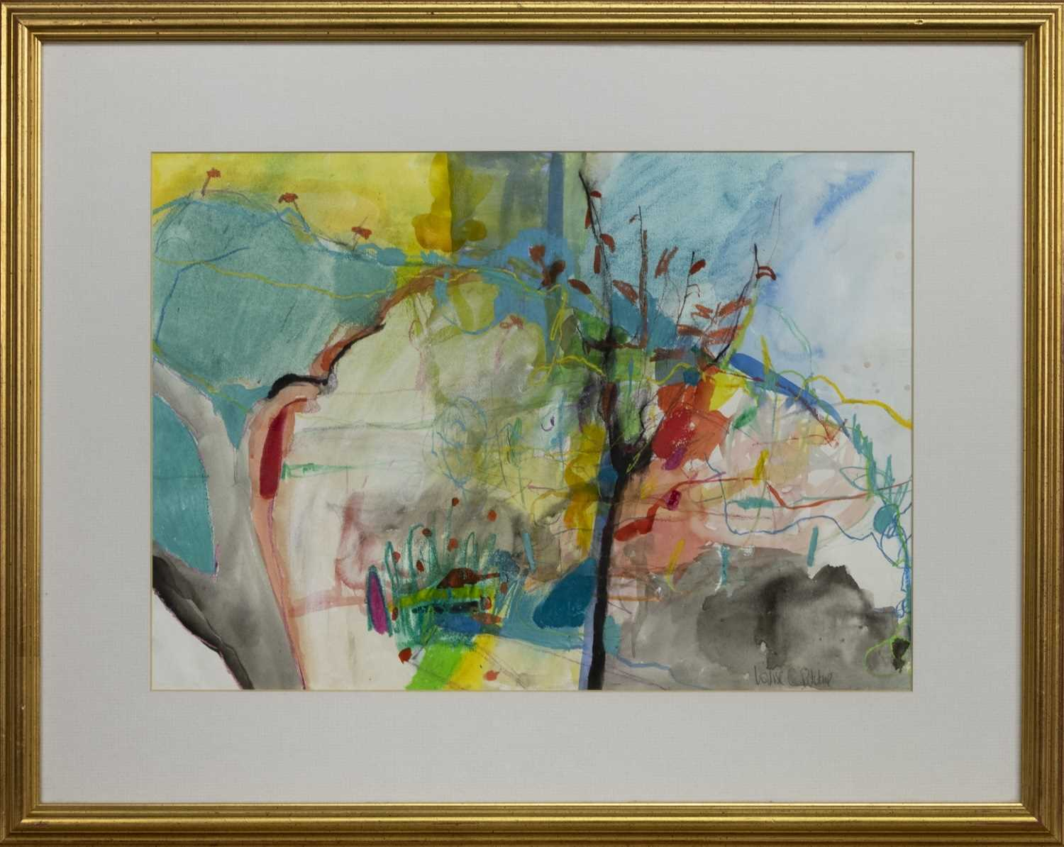 Lot 527 - COLOUR TREE, A MIXED MEDIA BY LOUISE RITCHIE